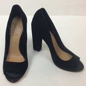 New Mark and James Black Leather Open Toe Pumps 6